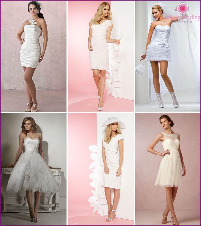 Short form-fitting wedding dresses