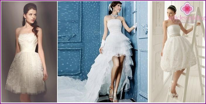 Photos short wedding dress with lush skirt