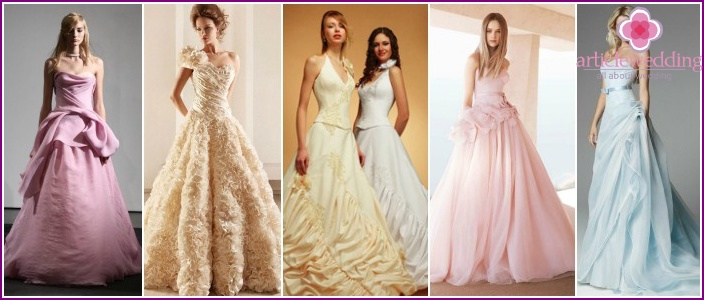 Different shades of dress of the bride
