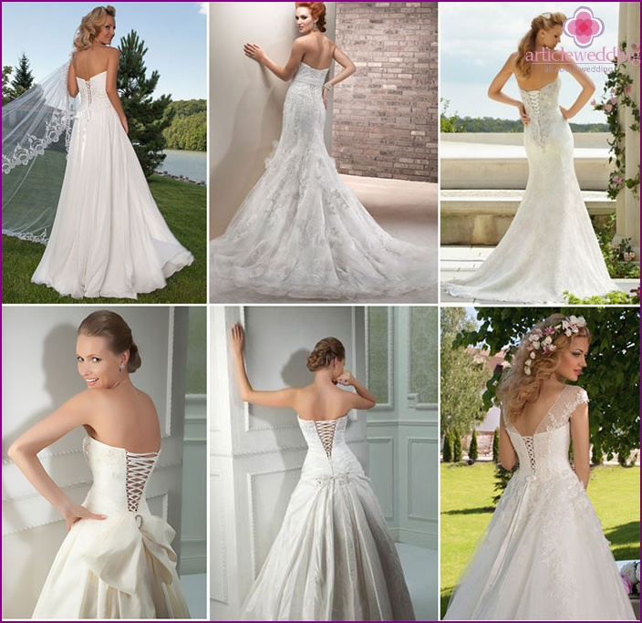 Wedding dress with lacing