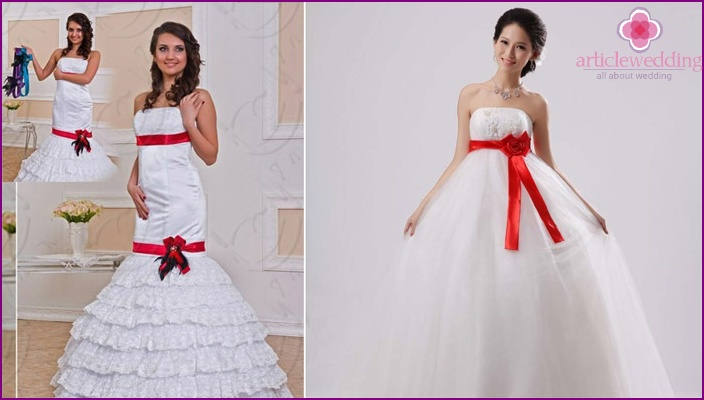 Свадебные Платья С Яркой Лентой
