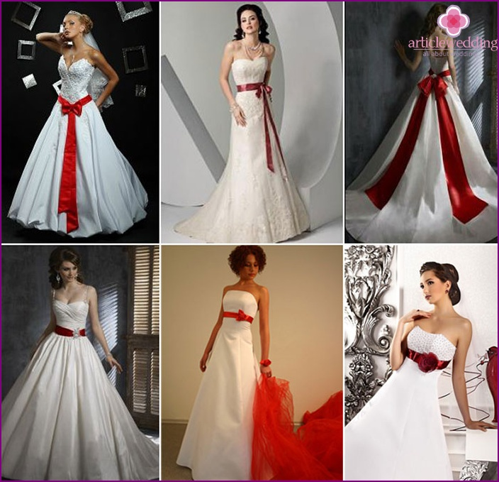 Scarlet accessory to wedding dress a-line