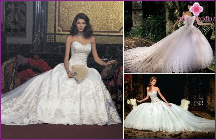 Wedding dress royal style with a train