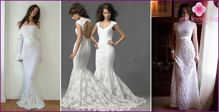 Wedding dress crochet their own hands