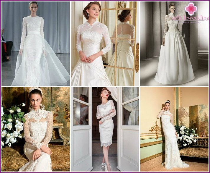 Wedding dresses, completely covering the hands and neck