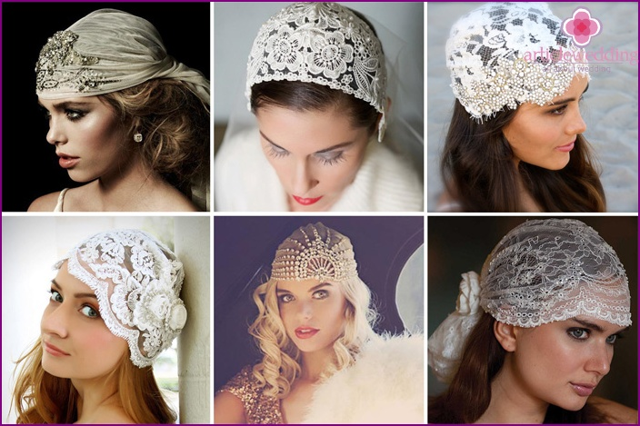 A hat with rhinestones for the bride