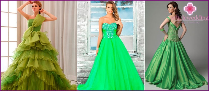 Wedding dress of green tones