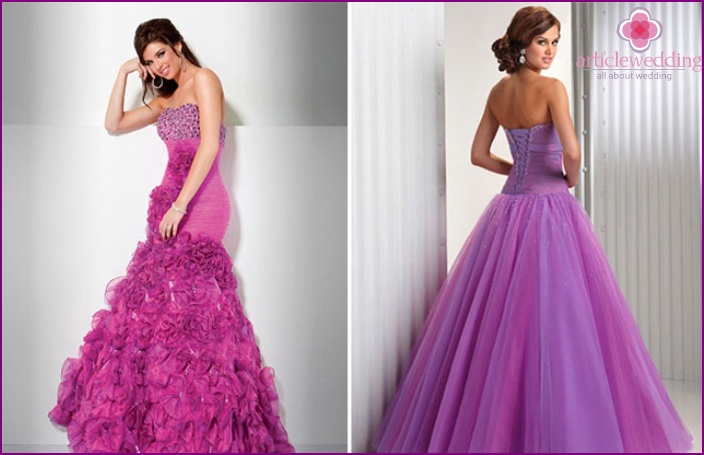 Wedding dress purple hue