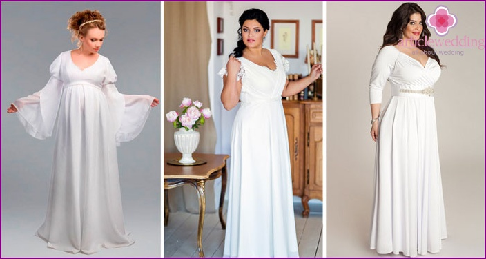 Variants of the Greek dresses for brides full