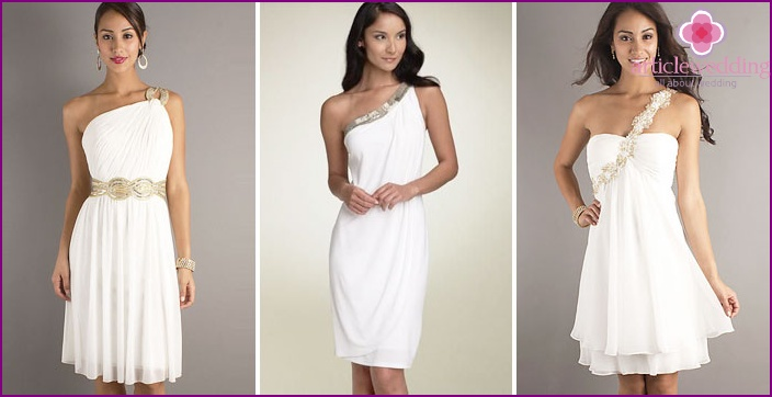 Greek short wedding dresses with one shoulder-straps