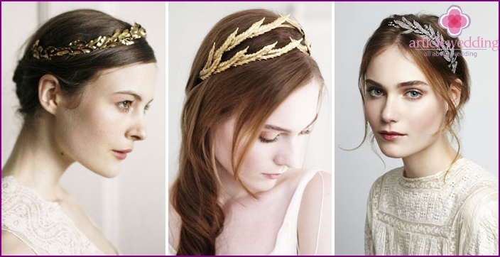 Accessories for the Greek wedding dress