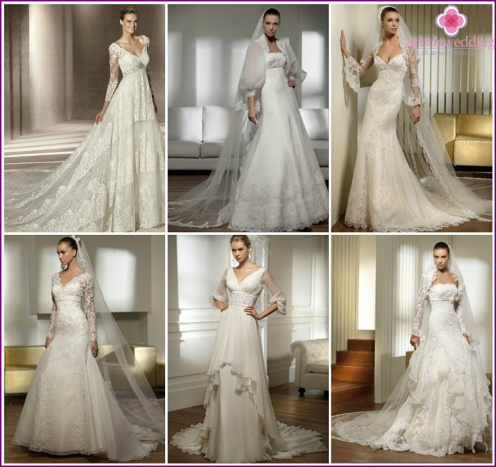 Empire dresses with lace sleeves for the bride