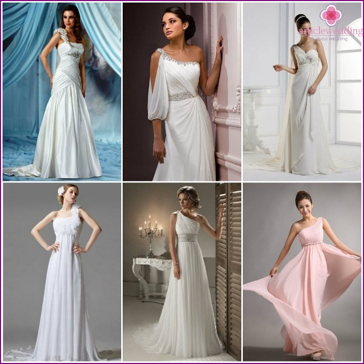 Wedding dresses with one shoulder strap