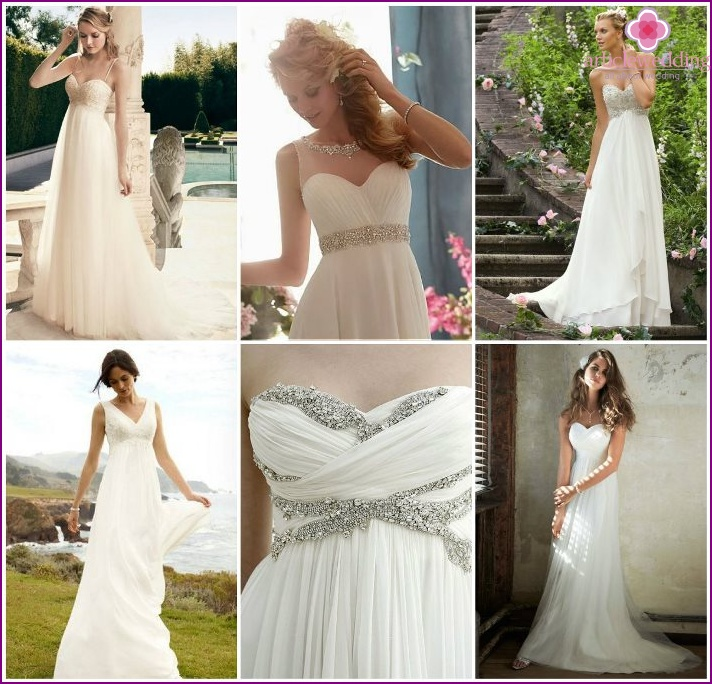 Photo of wedding dresses in the Greek style