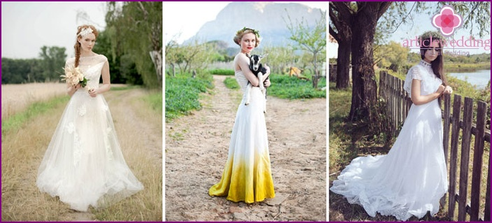 Dress a-line at a wedding in the style of rustic