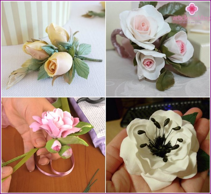 Boutonniere on the basis of polymer clay