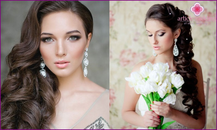 Wedding hairstyle to one side