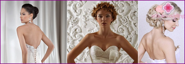 Hairstyle for wedding dresses with open top