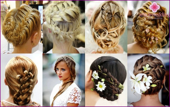 Wedding braids and weaving on long hairstyle