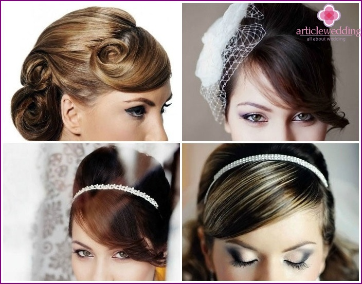 As a long-haired beautiful bride put asymmetrical bangs