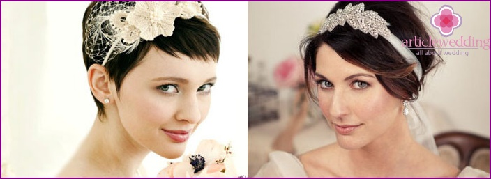 Wrap with flower: wedding hairstyle