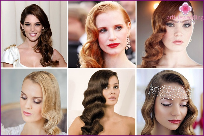 Wedding hairstyle Hollywood wave