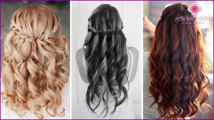 Hairstyle cascading waterfall for the bride