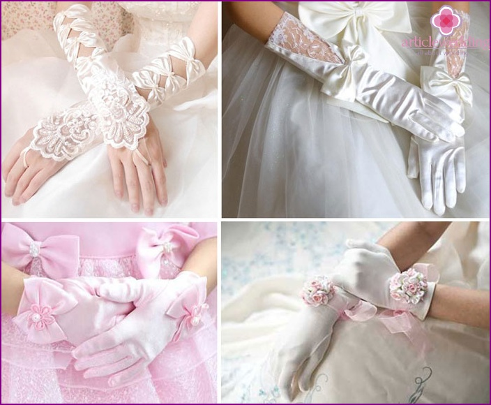 Volumetric decoration on wedding gloves