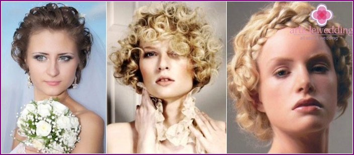 Wedding styling curly hair short length