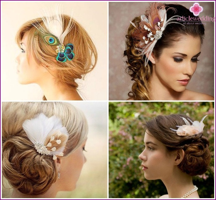 Accessories wedding hairstyle on long hair