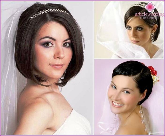 Прически для невесты каре