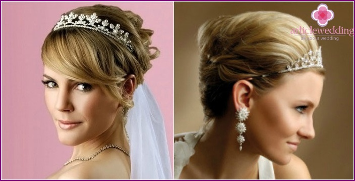 Tiara - the basis of a short length wedding styling