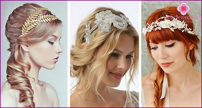 Diadem and Greek bride styling hair