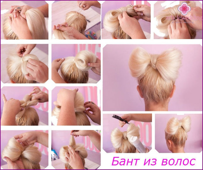 Stepping bow hairstyle