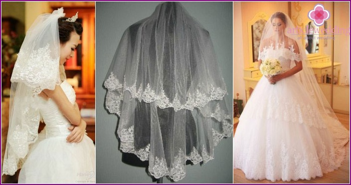 Photo: Wedding laying under a two-tier veil