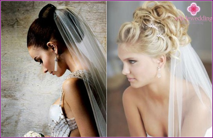 Long-haired bride: High wedding styling and veil