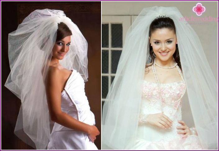 свадебные прически на средние волосы с пышной фатой