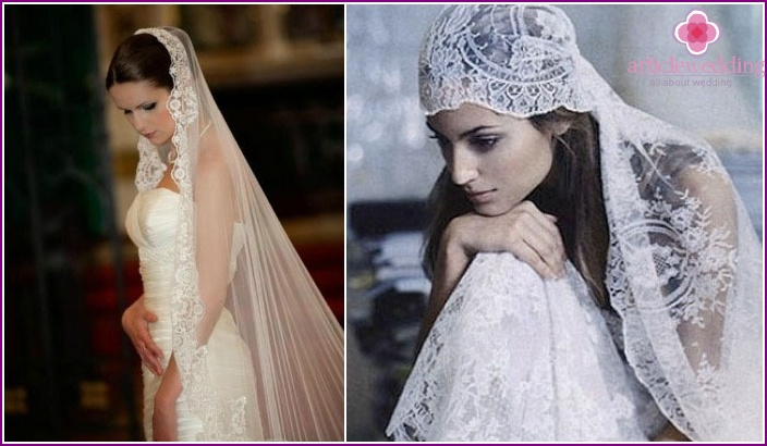 How to put the hair under a veil, mantilla