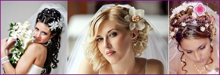 Hairstyle with a veil and flowers