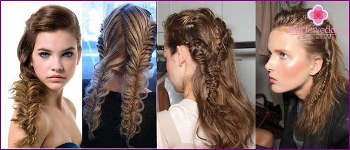Careless French braids for a wedding