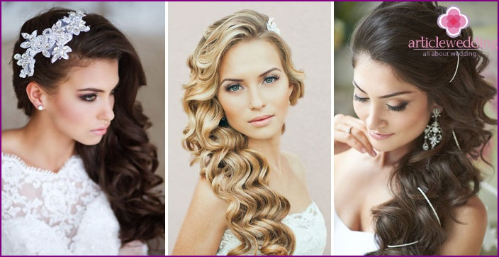 Modern bride with curls on the side