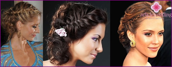 Hair bride: weaving in the Greek style on the loose hair with a veil