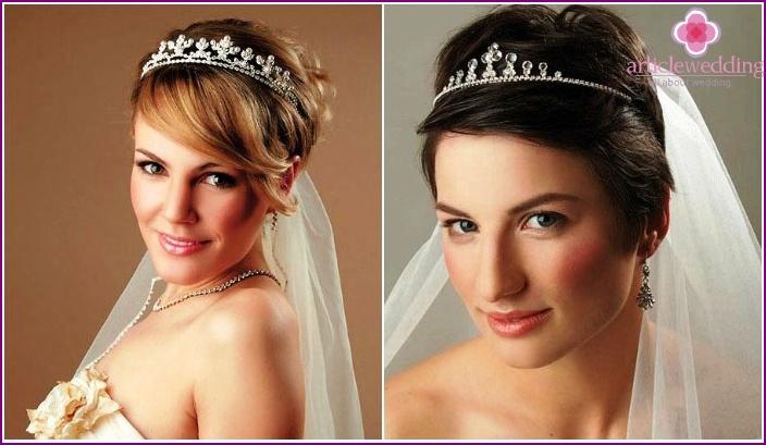 Tiara and veil