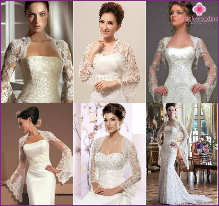 Wide sleeves on wedding cropped jackets