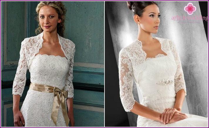 Wedding bolero with tight long-sleeved lace