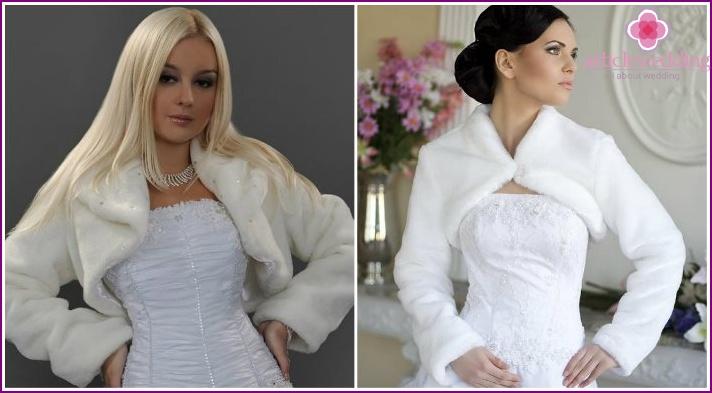 Wedding cropped fur bolero with long sleeves