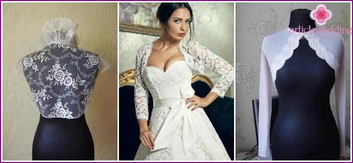 Cropped jackets in the wedding dress of the grid