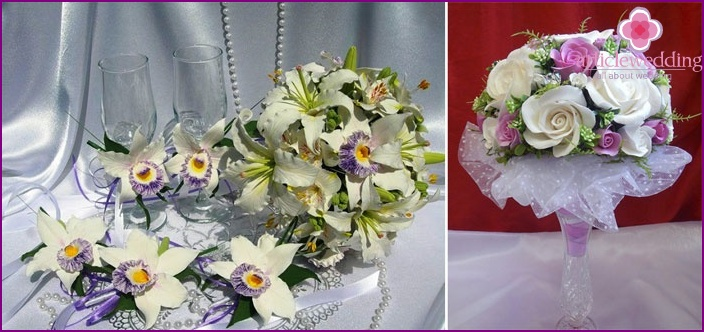 Wedding composition of clay and decoration of glasses