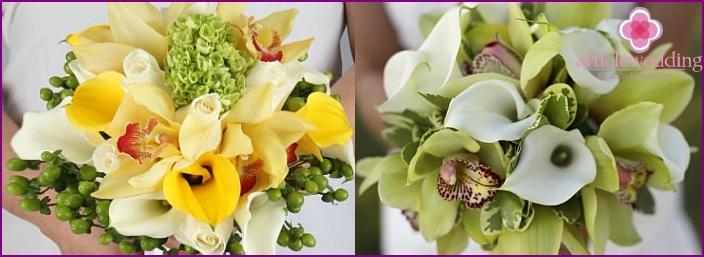 Delicate calla lilies for the bride