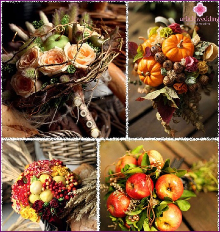 Autumn decor for the bride's bouquet